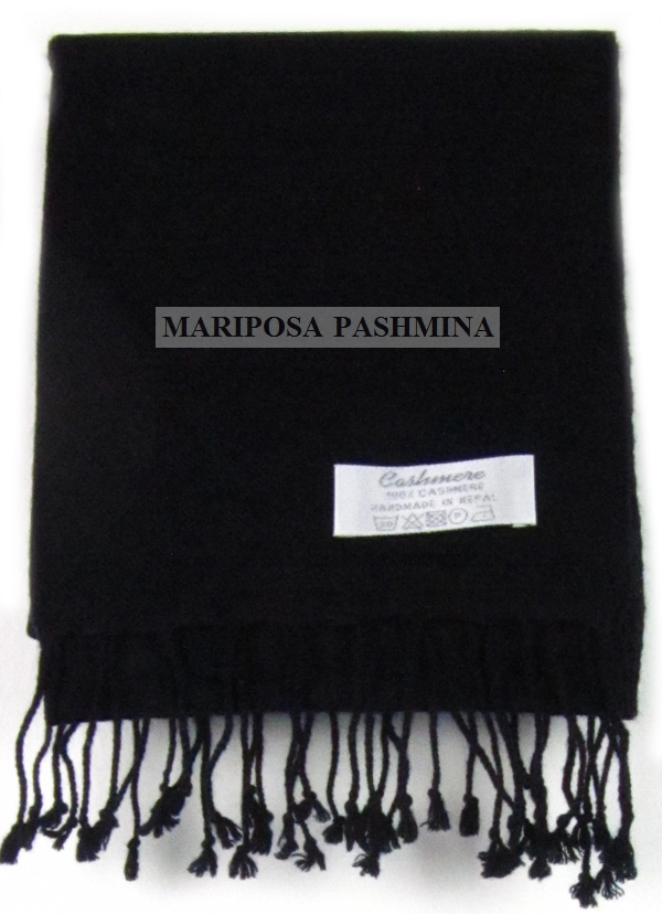 PASHMINA S - SMALL CASHMERE SCARF - NAVY BLUE